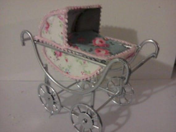 Dolls house pram Baby Carriage Miniature Stroller