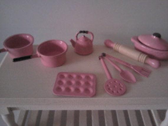 Dolls house kitchen accessories set with pots and pans  kitchen utensils