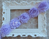 1 YARD Shabby Frayed Fabric Flowers Wholesale - LAVENDER - Wholesale Embellishments - Frayed Flowers