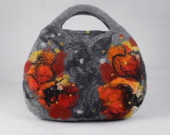 Felted Bag Handbag Purse Felt Nunofelt Nuno felt Silk Eco tangerine grey gray fog silver fairy multicolor floral fantasy Fiber Art boho