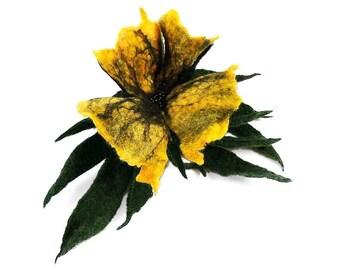 Felted Brooch nunofelt flower nuno fairy brooch yellow amber soft romantic art deco folk boho wool Victorian Fairy