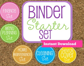 INSTANT DOWNLOAD-Home Binder Starter Set--Home Organization Starter Kit-Starter Pack of my Most Popular documents