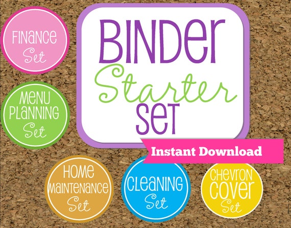 INSTANT DOWNLOAD-Home Binder Starter Set--Home Organization Starter Kit-Starter Pack of my Most Popular documents