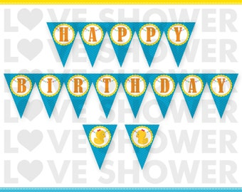 INSTANT DOWNLOAD - Rubber Duck Happy Birthday Printable Penant Banner Bunting - PDF