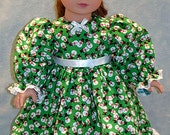 18 Inch Doll Clothes - Tiny Snowmen on Green Christmas Dress for 18 inch dolls