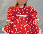 18 Inch Doll Clothes - Tiny Snowmen on Red Christmas Dress for 18 inch dolls