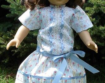 Titanic Era Blue Stripe White Lace Dress made to fit 18 inch dolls