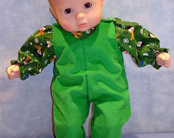 15 Inch Doll Clothes - Joy Snowmen Overalls Green Girls for 15 inch baby dolls