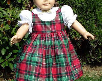 18 Inch Doll Clothes - Christmas Plaid Jumper Outfit for 18 inch dolls