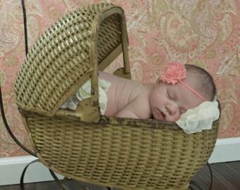 Coral, Salmon, Peach, or Apricot Shabby Chic Flower on a Matching Skinny Headband, Newborn Headband, Infant Headband, Newborn Photo Prop,