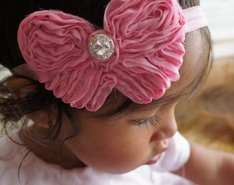 Pink Chiffon Fabric Butterfly Headband, Girl Butterfly Headband, Baby Girl Headband, Infant Headband, Newborn Girl Headband