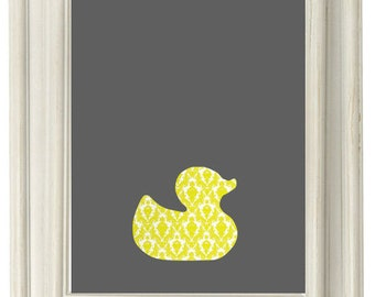 Digital Download, Rubber Duck Yellow and Gray Print