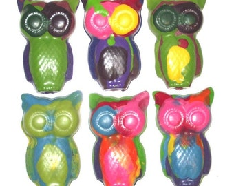 Rainbow Owl Crayons - Set of 6 / Birthday Party Favors / Kids Gift