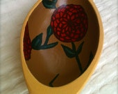 Hand Pained Wooden Bowl with Flower