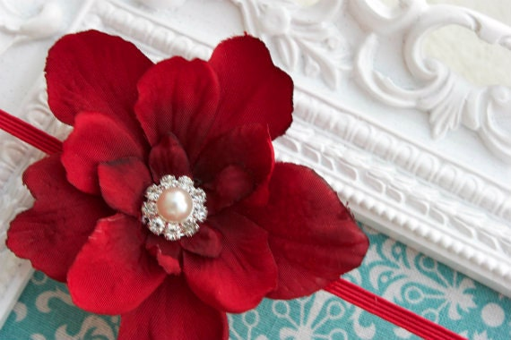 The Ava Deep RED Silk Flower Headband, with rhinestone and pearl Button Center, made for newborns, infants, toddlers, girls, adults