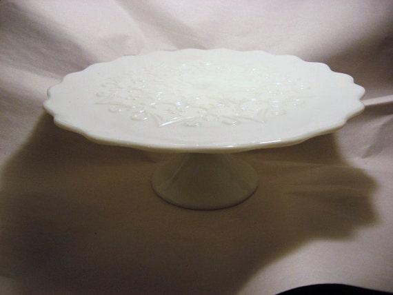 Fenton Spanish Lace Cake Stand Milk Glass