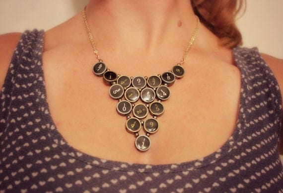 The Geek - Typewriter Keys Bib Necklace Jewelry in Antiqued Gold & Silver Metal and Black - Math Numbers Geekery Nerdy
