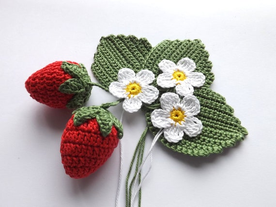 Crocheted strawberry application,Crocheted strawberries.Application set, red,green and white.Scrapbooking applique.