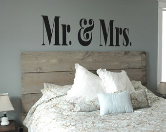 XL MR & MRS Vinyl Decal- Master Bedroom Decor, Modern, Sophisticated, Wall Art