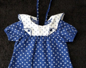 SALE 1960s Baby Doll Dress Blue and White Sailor Inspired Floral Dress
