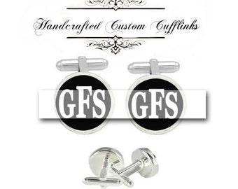 custom fancy monogram 3 initial men Cufflinks groom groomsmen Wedding Anniversary birthday graduation husband father fiancée gift cuff link