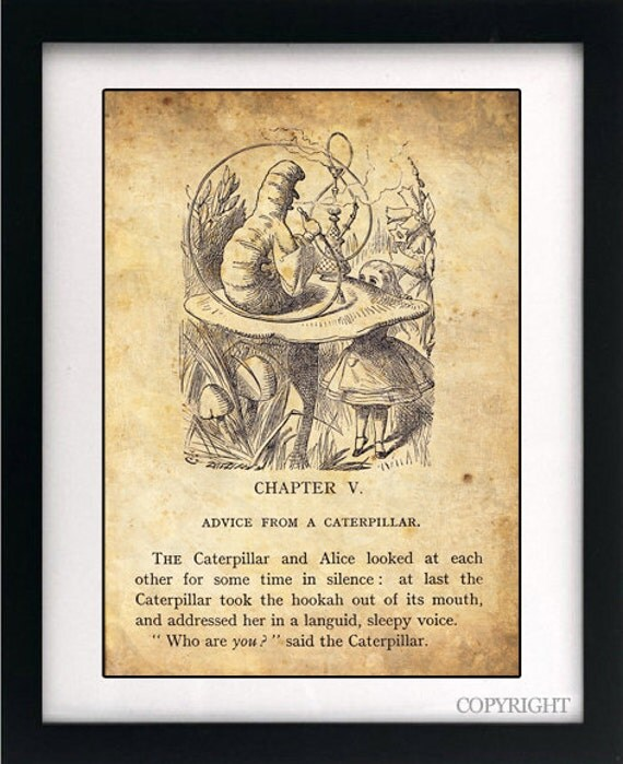 Alice In Wonderland Caterpillar Quotes: Alice In Wonderland Art Book Print A4 Or A3 Vintage Page