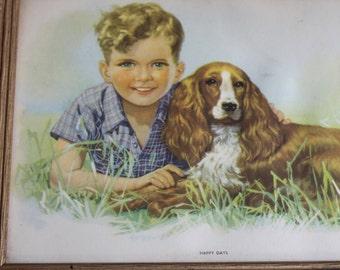"""Vintage Prairie Framed Litho Print Boy & Dog """"Happy Days"""""""