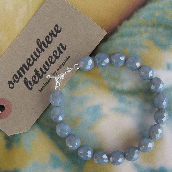 Milky Grey Bracelet with Silver Toggle Claps