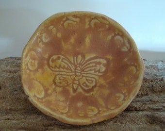 Pinched and Stamped Pottery Butterfly with Paisleys and Spiral Trinket Dish in Desert Sunset, Ring Dish, Ceramic Bowl