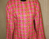 Vintage 1980s Ungaro Parallele Paris Neon Pink Green and Orange Twill Jacket Blazer Sz Med/Lrg
