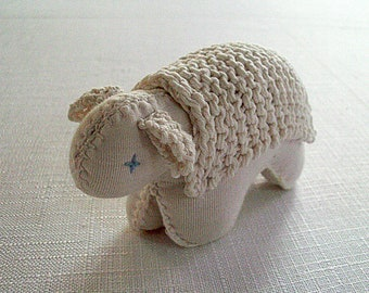 Waldorf Soft Toy Sheep, Vegan Baby  Toy Organic Cotton,