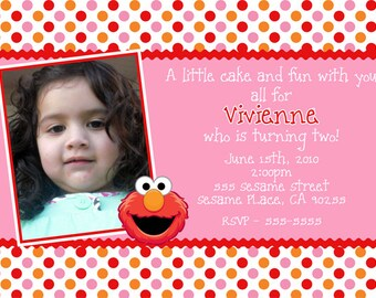 Girly Elmo Invitation