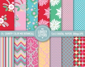 Pinks Reds Turquoises Country Botanical Floral Digital Papers - showers, paper decor, cards, scrapbooking and crafts. Printables - DIY.