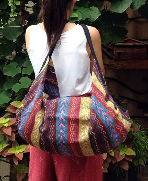 FREE SHIPPING - Handmade Hippie Hobo bag Shoulder bag Backpack - woven cotton - ready to ship -