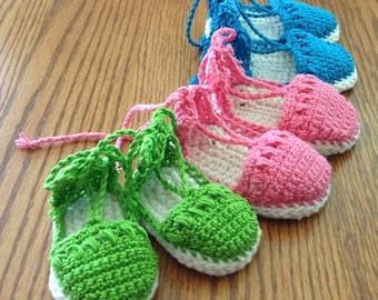 Baby Booties Sandals Espadrilles , Crochet Pattern, PDF 12-114 INSTANT DOWNLOAD