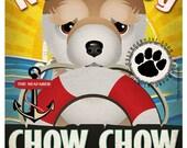 Chow Chow Sailing Company Original Art Print - Custom Dog Breed Illustration -11x14- Customize with Your Dog's Name