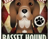 Basset Hound Pampered Pups Original Art Print - 11x14 - Dog Poster - Dogs Incorporated