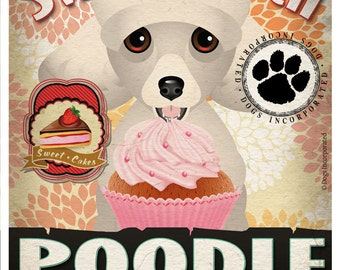 Poodle Cupcake Company Original Art Print - Custom Dog Breed Art - 11x14 - Personalize with Your Dog's Name - Dogs Incorporated