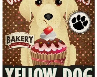 Yellow Dog Cupcake Company Original Art Print - Yellow Dog Art - 11x14 - Personalize with Your Dog's Name - Dogs Incorporated