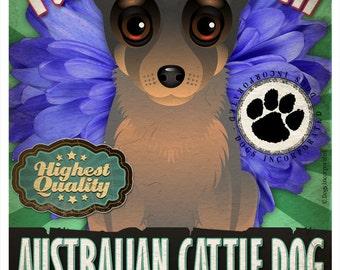 Dogs and Flowers Art Print - Australian Cattle Dog Art Print 11 x 14