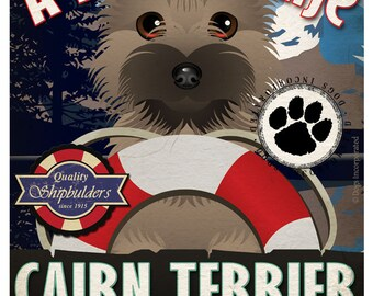 Cairn Terrier Sailing Company Original Art Print -11x14- Customize with Your Dog's Name