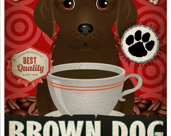 Brown Dog Coffee Bean Company Original Art Print  - Brown Mixed Breed Art -11x14-Customize with Name