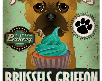Brussels Griffon Cupcake Company Original Art Print - Custom Dog Breed Print -11x14- Customize with Your Dog's Name - Dogs Incorporated