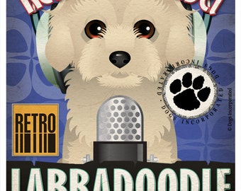 Labradoodle Recording Studio Original Art Print - Custom Dog Breed Print - 11x14 - Personalize with Your Dog's Name