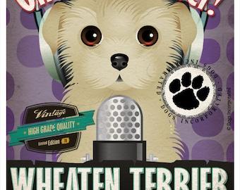 Wheaten Terrier Recording Studio Original Art Print - Custom Dog Breed Print - 11x14
