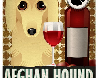 Afghan Hound Drinking Dogs Original Art Poster Print - Personalized Dog Wall Art -11x14- Customize with Your Dog's Name - Dogs Incorporated
