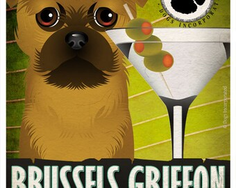 Brussels Griffon Drinking Dogs Original Art Poster Print - Personalized Dog Art -11x14- Customize with Your Dog's Name - Dogs Incorporated
