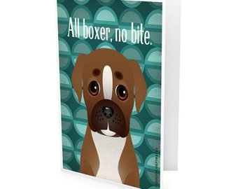 Funny Boxer Company Greeting Card - Dog Lover Note Cards (pack of 6) - includes  6 Color-Coordinated Envelopes
