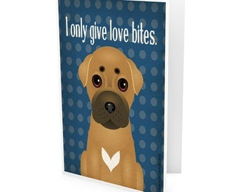Funny Pit Bull Company Greeting Card - Dog Lover Note Cards (pack of 6) - includes  6 Color-Coordinated Envelopes