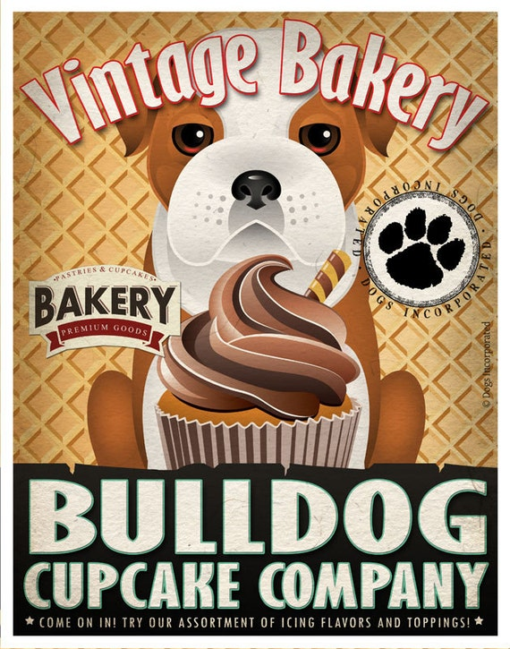 Bulldog Cupcake Company Original Art Print - Custom Pet Art Print  - 11x14 - Personalize with Your Dog's Name - Dogs Incorporated